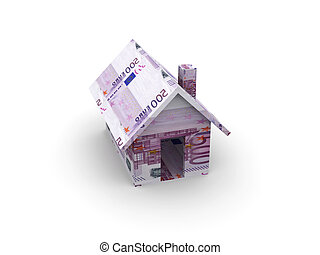 Euro Toy House - 3D Illustration. Isolated on white.