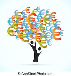 Euro tree vector concept illustration