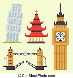Euro trip tourism travel design famous building and euro adventure international vector illustration