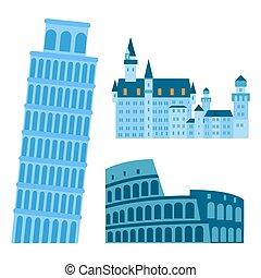 Euro trip tourism travel design famous building and euro adventure international vector illustration.