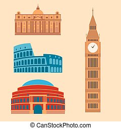 Euro trip tourism travel design famous building and euro adventure international vector illustration.