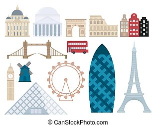 Euro trip tourism travel design famous building and euro...