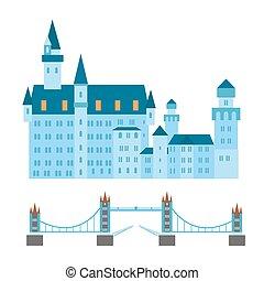 Euro trip tourism travel design famous building and euro...