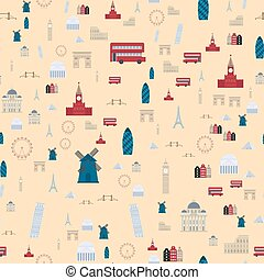 Euro trip tourism travel design famous seamless pattern building international vector illustration.