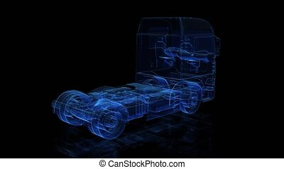 Euro Truck. Black and blue shine Formation of Model Big...