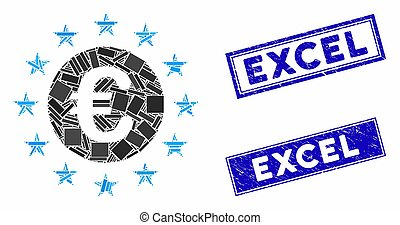 Euro Union Stars Mosaic and Distress Rectangle Excel Stamp ...
