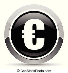 Euro vector steel icon. Chrome border round web button. Silver metallic pushbutton.