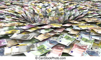 euro vortex - euro banknotes being sucked into a pit...