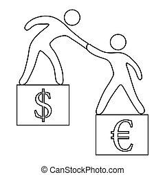 Euro vs dollar icon, outline style