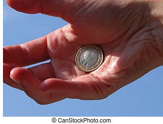 euro, w, ręka