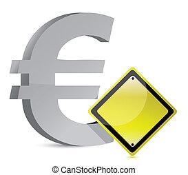 euro warning yellow sign