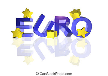 Euro with fallen stars - Euro sign with fallen stars in 3d