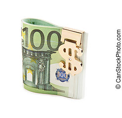 euro with golden clip isolated