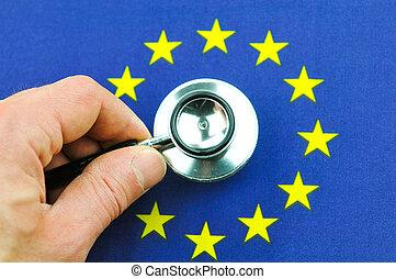 Euro zone concept with stethoscope end EU flag