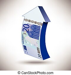 Euro_20_arrow_a - A detailed vector drawing of a 20 euros...