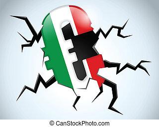 eurobiljet, geld, crisis, italië vlag, barst, op de vloer