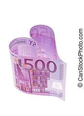 eurobiljet, in, de, vorm, van, een, hart