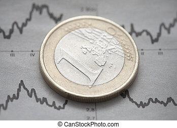eurobiljet, munt, op, krant, tabel