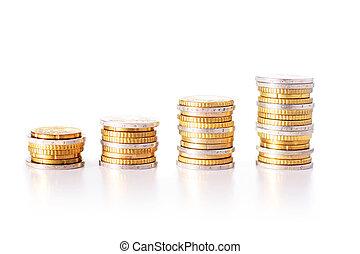 eurobiljet, muntstukken., vrijstaand, op, witte , achtergrond.