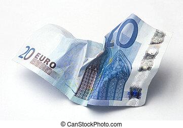 eurobiljet, verfrommeld