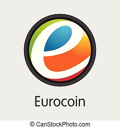 Eurocoin - Cryptographic Currency Colored Logo. - Eurocoin...