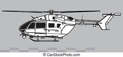 Vector drawing of light utility helicopter. Side view. Image for illustration and infographics.
