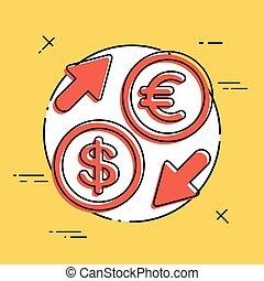 euro/dollar, -, échange devise étrangère, icône