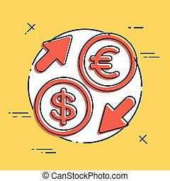 Euro/Dollar - Foreign currency exchange icon