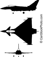 Eurofighter 2000 - Silhouette of jet-fighter Eurofighter...