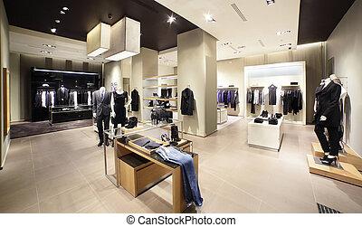 europæisk, splinterny, klæder shop