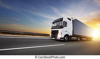 européen, autoroute, camion