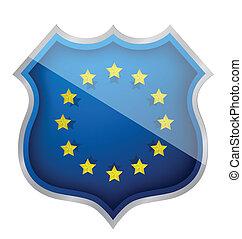 européen, bouclier, illustration, conception