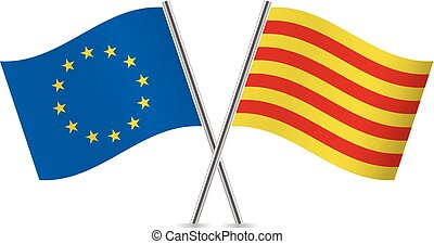 européen, catalogne, union, vecteur, flags., illustration.