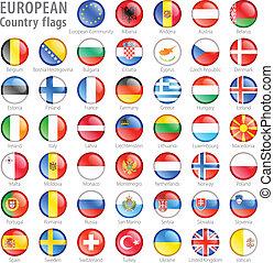 européen, drapeau national, boutons, ensemble