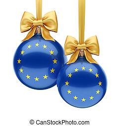 européen, noël, union, 3d, drapeau, balle, rendre
