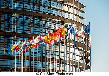 européen, parliamentfrontal, drapeaux