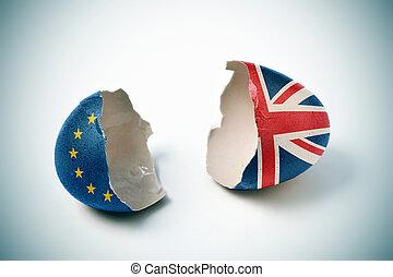 européen, toqué, modelé, coquille oeuf, drapeau britannique