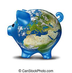 europa, økonomisk, krise, idet, verden kort, piggy bank