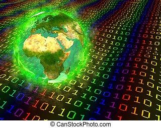 europa, aarde, -, data, digitale