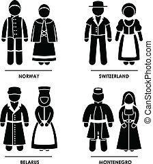 europa, abbigliamento, costume