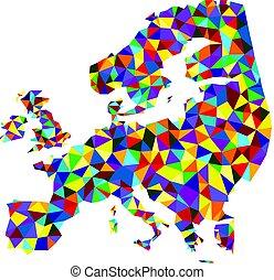 europa, abstract, map., kleurrijke, mozaïek