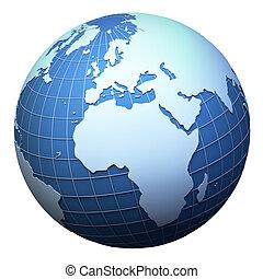 europa, afrika, -, vrijstaand, planeet land, model, witte