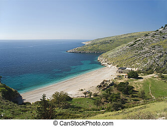 europa, albania, ionian, słoneczny, brzeg, ferie, plaża
