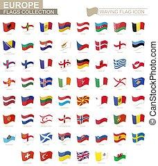 europa, alphabetically., países, bandeira acenando, bandeiras, ícone, classificado
