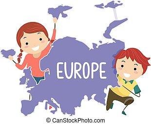 europa, bambini, stickman, continente, illustrazione