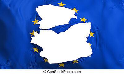 europa, bandera, andrajoso