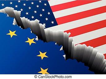 Europa, bandera, estados unidos de américa, grieta