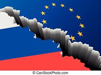 Europa, bandera, Rusia, profundo, grieta