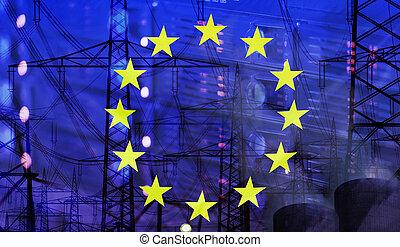 europa, bandera, tecnología, ambiente, concepto