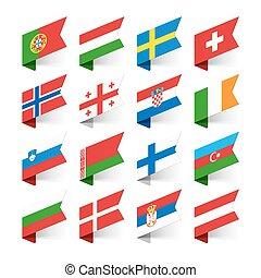 europa, bandiere, mondo